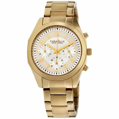 Caravelle - Caravelle Champagne Dial Stainless Steel Ladies Watch 44L118