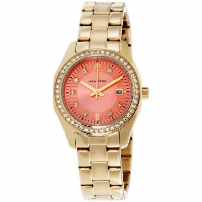 Caravelle - Caravelle Orange Dial Stainless Steel Ladies Watch 44M110