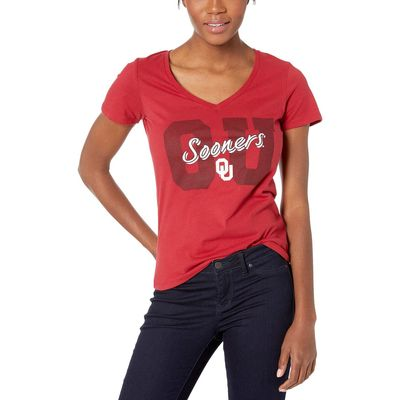 Champion College - Champion College Cardinal 3 Oklahoma Sooners University V-Neck Tee