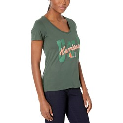 Champion College Dark Green 1 Miami Hurricanes University V-Neck Tee - Thumbnail