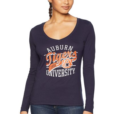 Champion College - Champion College Navy 2 Auburn Tigers Long Sleeve V-Neck Tee