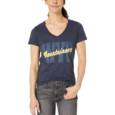 Champion College - Champion College Navy 3 West Virginia Mountaineers University V-Neck Tee