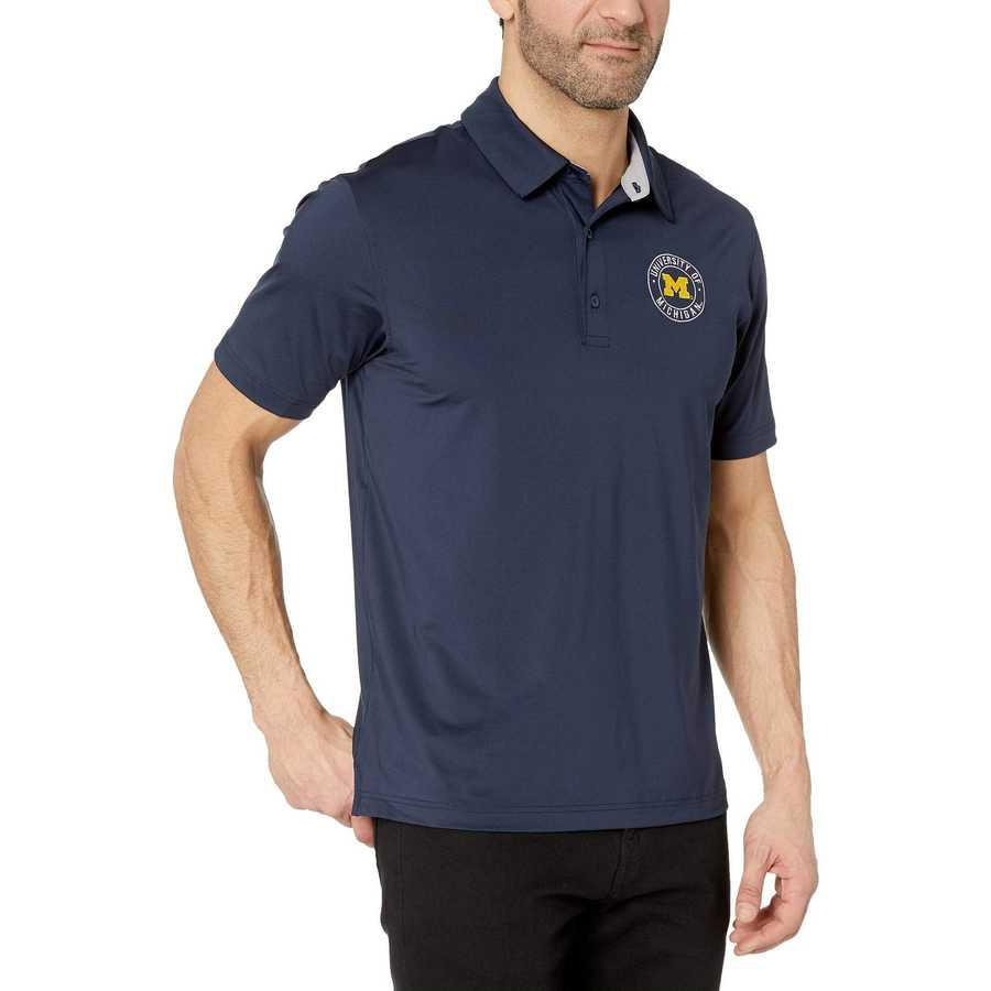 Champion College Navy Michigan Wolverines Solid Polo