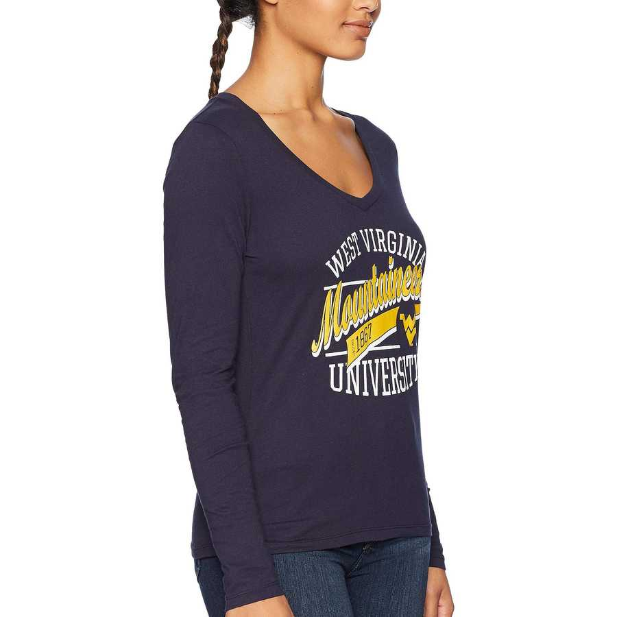 Champion College Navy West Virginia Mountaineers Long Sleeve V-Neck Tee