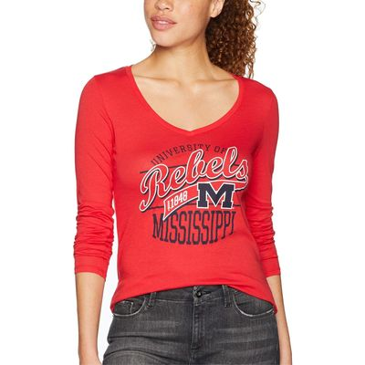 Champion College - Champion College Scarlet Ole Miss Rebels Long Sleeve V-Neck Tee