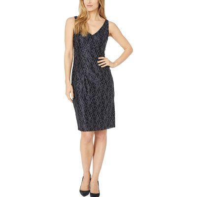 Chaps - Chaps Navy/Silver Metallic Floral Lace Dress