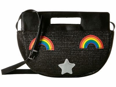 Circus By Sam Edelman - Circus By Sam Edelman Black/Rainbow Straw Half Moon Bag Satchel Handbag