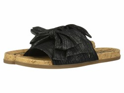 Circus By Sam Edelman Women Black Lightweight Linen Metallic Fabric Nicola Flat Sandals - Thumbnail