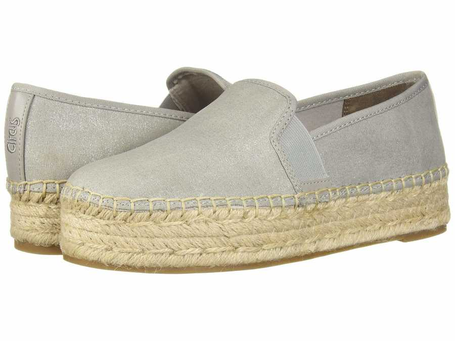 Circus By Sam Edelman Women Fog Grey New Shimmer Suede Christina Loafers