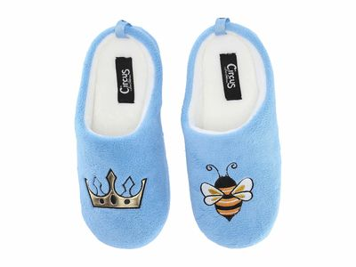 Circus By Sam Edelman - Circus By Sam Edelman Women Light Blue (Queen Bee) Fuzzy Fabric Jilly-6 Slippers