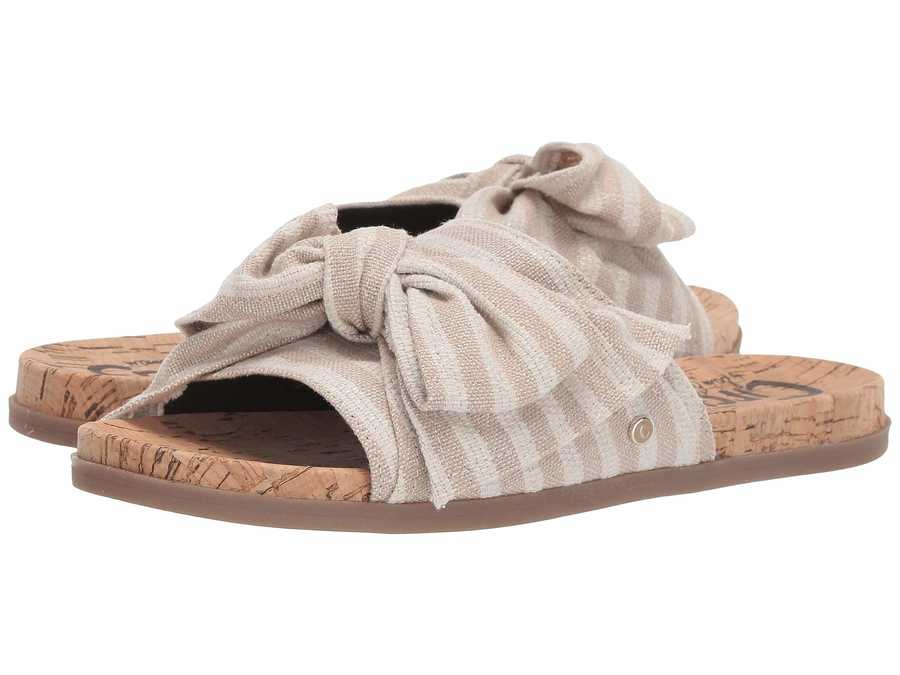 Circus By Sam Edelman Women Natural Flecked Metallic Stripe Fabric Nicola Flat Sandals