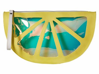 Circus By Sam Edelman - Circus By Sam Edelman Yellow Lemon Half Moon Wristlet Clutch Bag