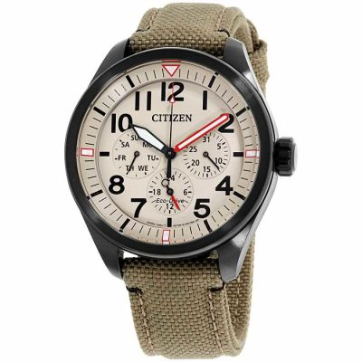 Citizen - Citizen Chandler Ivory Dial Nylon Strap Men's Watch BU2055-08X