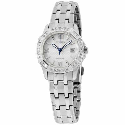 Citizen - Citizen Diamond Silver Dial Stainless Steel Ladies Watch EW2360-51A