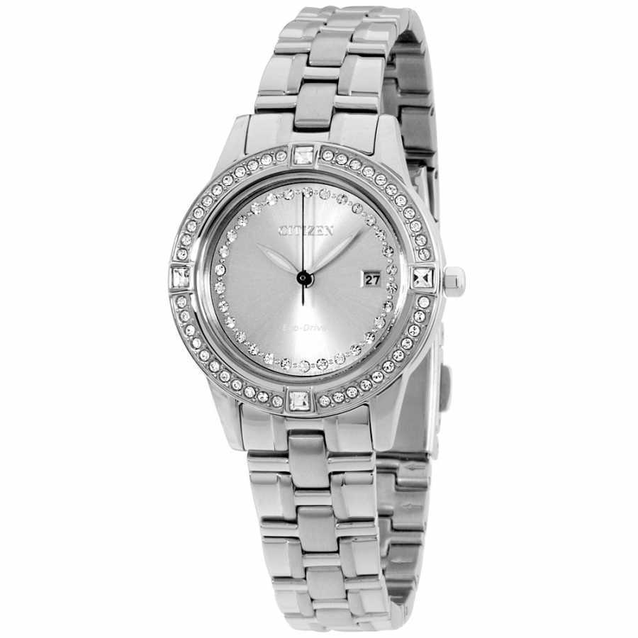 Citizen Silhouette Crystal Grey Dial Stainless Steel Ladies Watch FE1150-58H