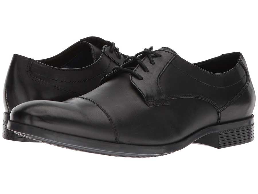 Clarks Men Black Leather Conwell Cap Oxfords