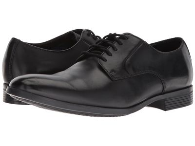 Clarks - Clarks Men Black Leather Conwell Plain Oxfords