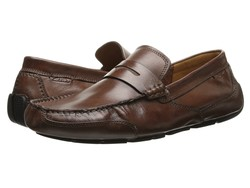 Clarks Men Cognac Smooth Leather Ashmont Way Loafers - Thumbnail