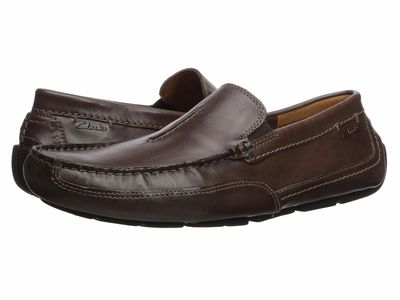 Clarks - Clarks Men Dark Brown Leather Ashmont Race Loafers