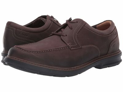 Clarks - Clarks Men Dark Brown Leather Rendell Walk Oxfords
