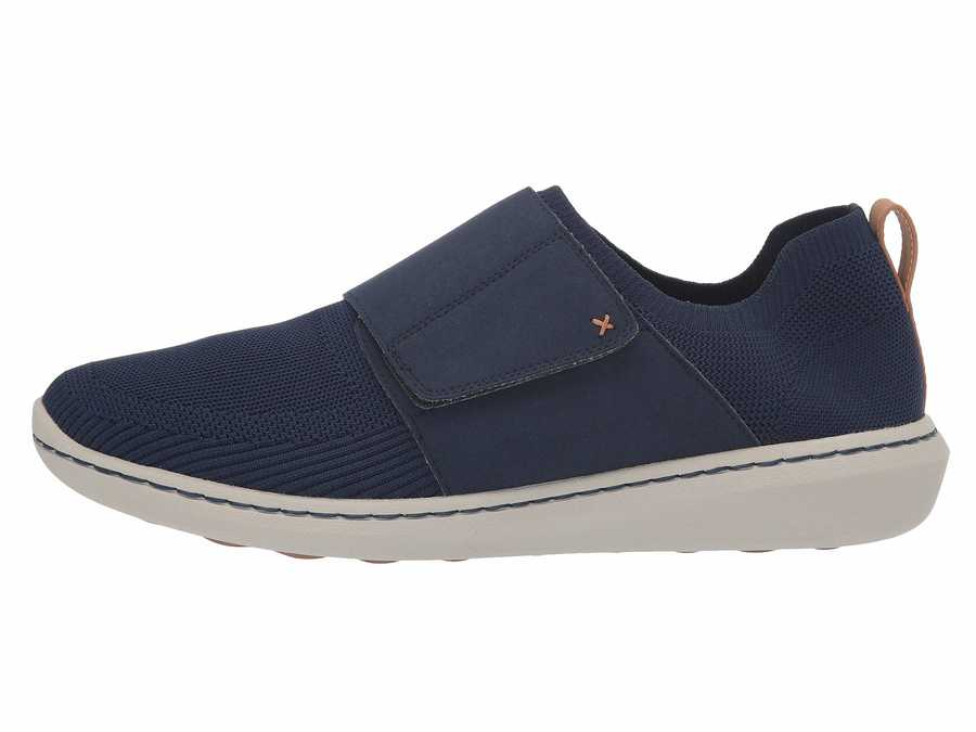 Clarks Men Navy Textile Knit Step Urban Race Lifestyle Sneakers