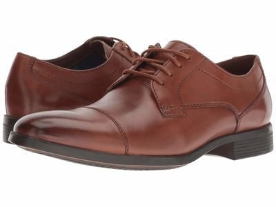 Clarks - Clarks Men Tan Leather Conwell Cap Oxfords