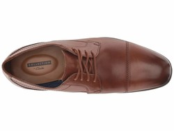 Clarks Men Tan Leather Conwell Cap Oxfords - Thumbnail