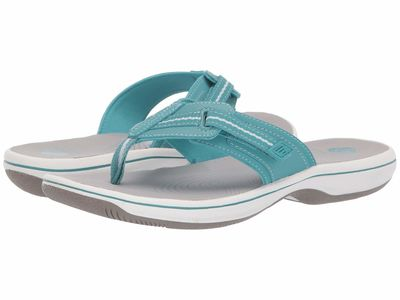 Clarks - Clarks Women Aqua Synthetic 1 Brinkley Jazz Flip Flops