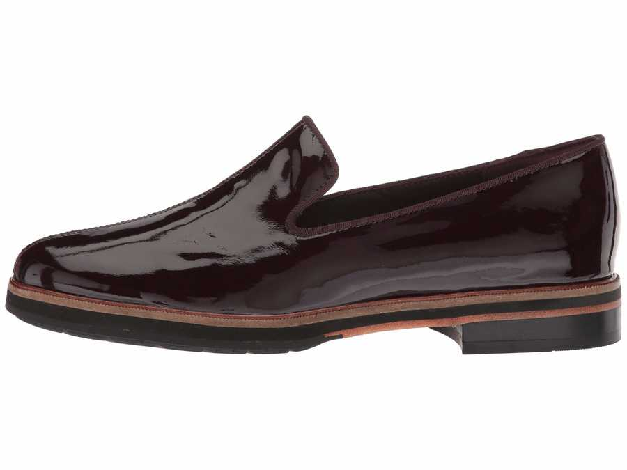Clarks Women Aubergine Patent Leather Frida Loafer Loafers