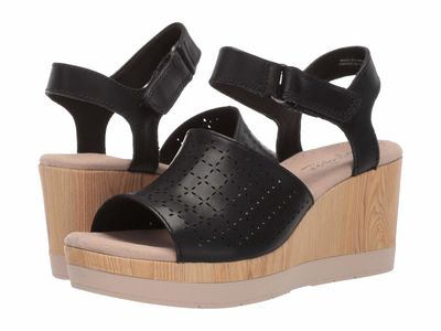 Clarks Women Black Leather Cammy Glory Heeled Sandals