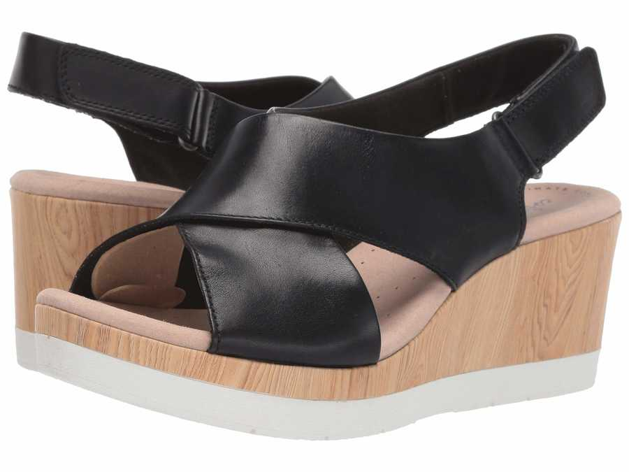 Clarks Women Black Leather Cammy Pearl Heeled Sandals
