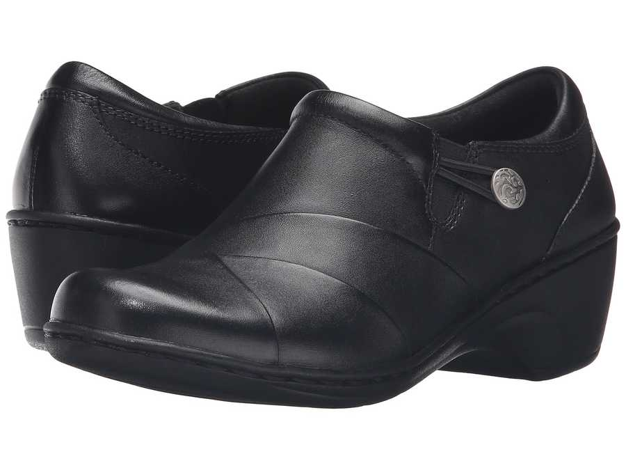 Clarks Women Black Leather Channing Ann Clogs Mules