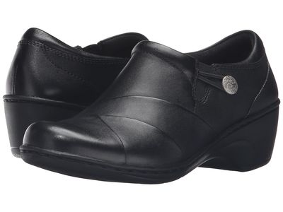 Clarks - Clarks Women Black Leather Channing Ann Clogs Mules