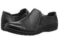 Clarks Women Black Leather Cheyn Clay Loafers - Thumbnail