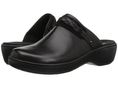 Clarks - Clarks Women Black Leather Delana Abbey Clogs Mules