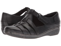 Clarks Women Black Leather Everlay Cape Loafers - Thumbnail