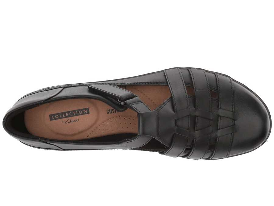 Clarks Women Black Leather Everlay Cape Loafers
