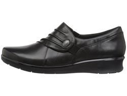 Clarks Women Black Leather Hope Roxanne Loafers - Thumbnail