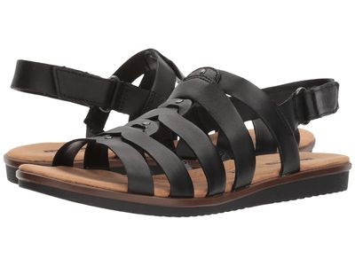 Clarks - Clarks Women Black Leather Kele Jasmine Flat Sandals