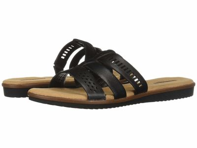 Clarks - Clarks Women Black Leather Kele Willow Flat Sandals