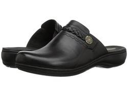 Clarks Women Black Leather Leisa Carly Clogs Mules - Thumbnail