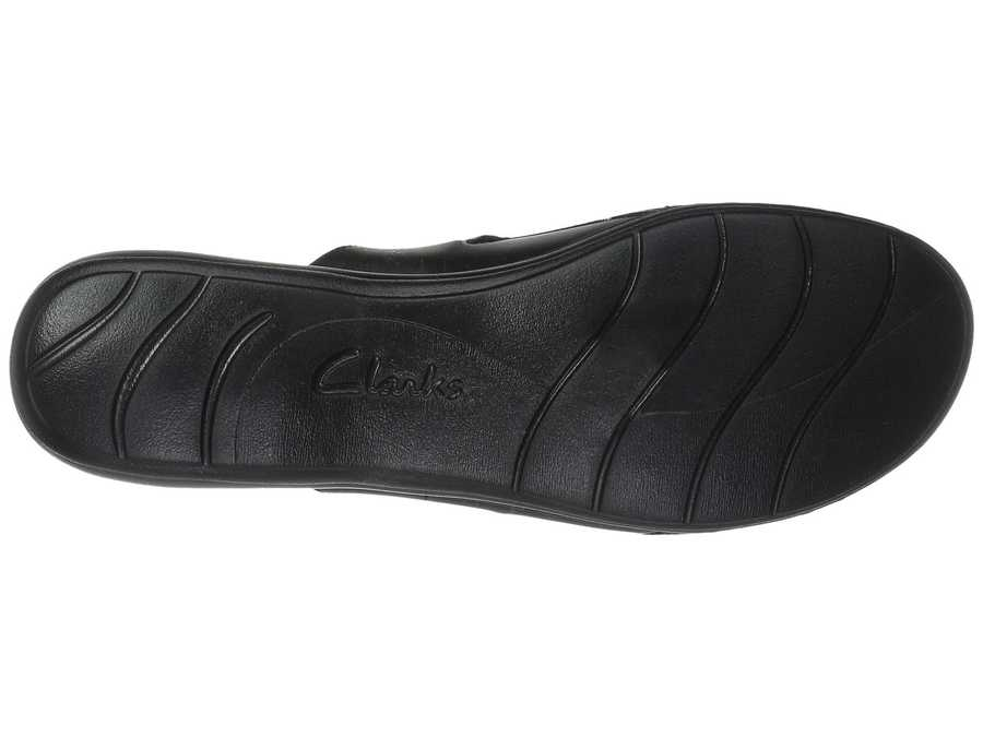 Clarks Women Black Leather Leisa Carly Clogs Mules