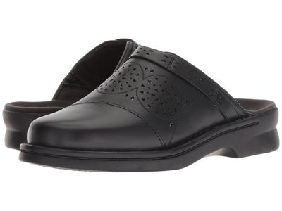 Clarks - Clarks Women Black Leather Patty Renata Clogs Mules