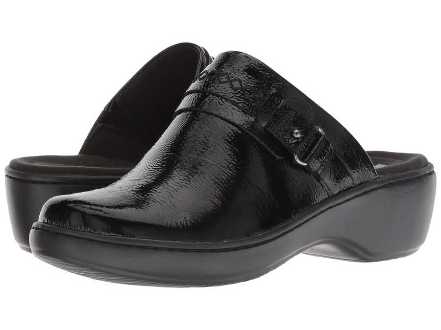 Clarks Women Black Patent Leather Delana Amber Clogs Mules