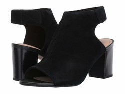 Clarks Women Black Suede Deva Bell Heeled Sandals - Thumbnail