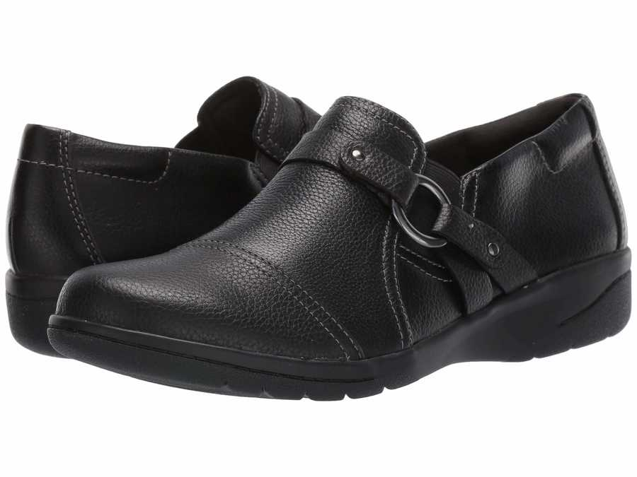 Clarks Women Black Tumbled Leather Cheyn Fame Loafers