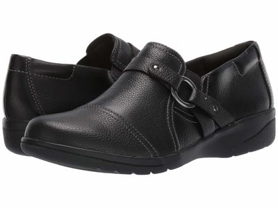 Clarks - Clarks Women Black Tumbled Leather Cheyn Fame Loafers