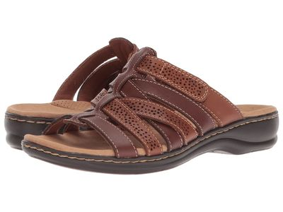 Clarks - Clarks Women Brown Multi Leather Leisa Field Flat Sandals