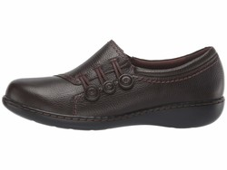 Clarks Women Dark Brown Tumbled Leather Ashland Effie Loafers - Thumbnail