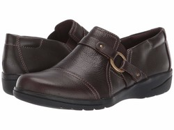 Clarks Women Dark Brown Tumbled Leather Cheyn Fame Loafers - Thumbnail